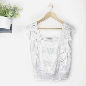 American Eagle Outfitters White Eyelet Blouse S